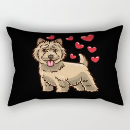 Funny Cairn Terrier Dog With Hearts Rectangular Pillow