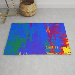 Gay Pride Rough Crosshatched Paint Strokes Rug
