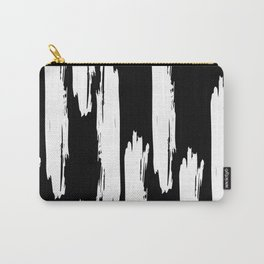 Black And White Retro Bold Paint Lines Pattern Carry-All Pouch