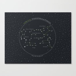 Spring Constellations Astronomy Star Chart Canvas Print