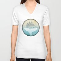 moby dick V-neck T-shirts featuring Moby by Vin Zzep