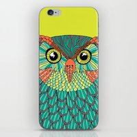 lime green iPhone & iPod Skins featuring owl - Lime green by bluebutton studio