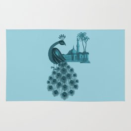 Blue peacock oriental dream Rug