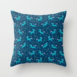 Unicorn with stars in cute cartoon Skandinavian style pattern Throw Pillow