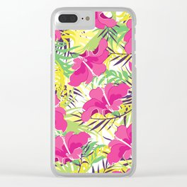 Tropic flowers Clear iPhone Case