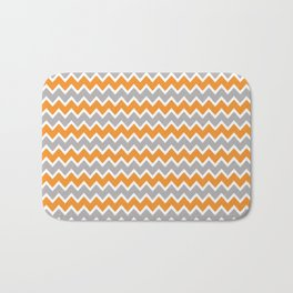 Coral Orange and Gray Grey Chevron Bath Mat