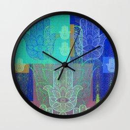 Moroccan Motif Hamsa Mosaic Wall Clock