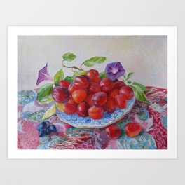 still life with plums, original oil painting Art Print