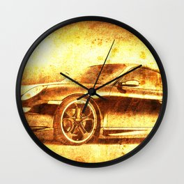 911 classic car. Original golden artwork. Birthday gift for fans Wall Clock