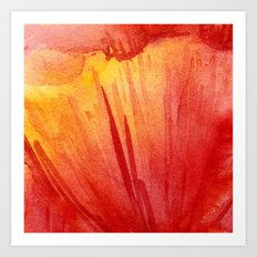 Red Orange Abstract Watercolor Texture, Poppy Flower Art Print