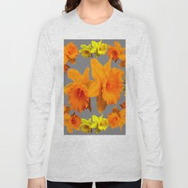 YELLOW-GOLD SPRING DAFFODILS & CHARCOAL GREY COLOR Long Sleeve T-shirt