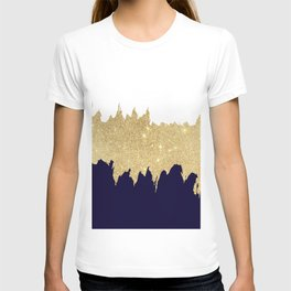 Modern navy blue white faux gold glitter brushstrokes T-shirt