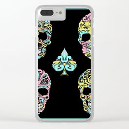 Floral Day Of Dead Sugar Skulls Clear iPhone Case