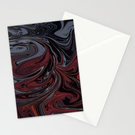 Grey & Red Abstract Painting Stationery Cards