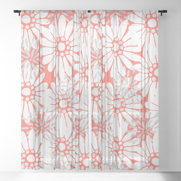 Summer Flowers Living Coral Sheer Curtain