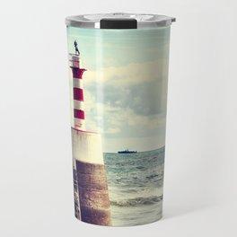Amble Pier Lighthouse Travel Mug