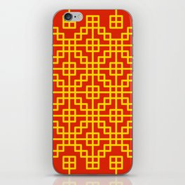 Chinese grid pattern in traditional colors iPhone Skin
