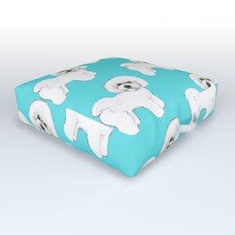 Bichon Frise on aqua / teal / cute dogs/ dog lovers gift Outdoor Floor Cushion