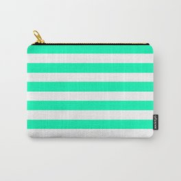 Mint and White Stripes Carry-All Pouch