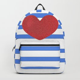 Red Heart and Blue Stripes Backpack