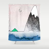 camping Shower Curtains featuring Pretty Camping by Lauren Strom
