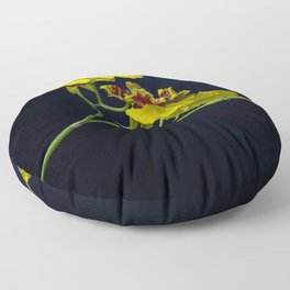 Dancing Lady Yellow Orchids Floor Pillow