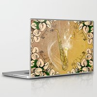 saxophone Laptop & iPad Skins featuring Saxophone with flowers by nicky2342