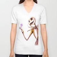 jack skellington V-neck T-shirts featuring Jack Skellington by Leanne Engel