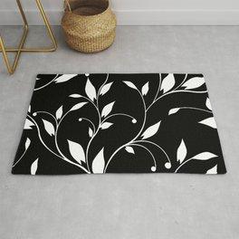 FLOWERY VINES | black white Rug
