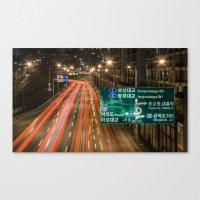 seoul Canvas Prints featuring Seoul Traffic by Clayton Jones