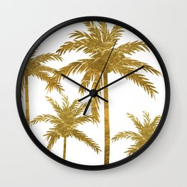 Gold Palm Trees Wall Clock