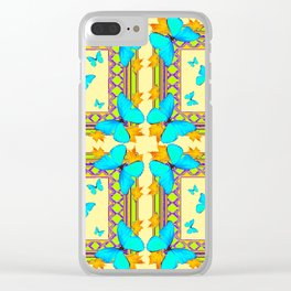 Turquoise Butterflies Creamy Patterns Clear iPhone Case