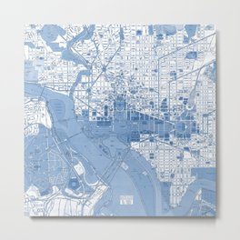 Washington DC Map Metal Print