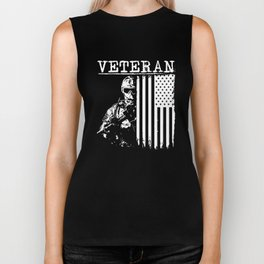 United States Veteran Flag and Soldier Biker Tank