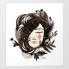 Night floresta girl Art Print