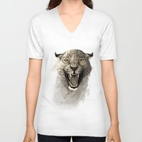 leopard V-neck T-shirts featuring Leopard by Rafapasta