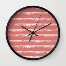 Irregular Stripes Coral Wall Clock