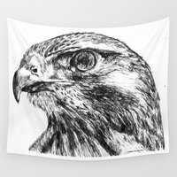 hawk Wall Tapestries featuring Hawk by Emma Dowling