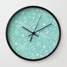 Winter Floral Blue Wall Clock