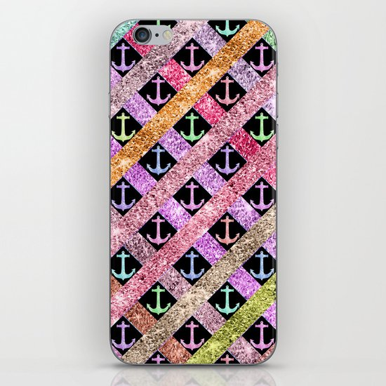 Girly Colorful Glitter Nautical Anchors Stripes iPhone & iPod Skin