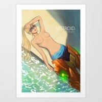 metroid Art Prints featuring Metroid Samus by jaimito