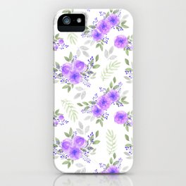 Hand painted violet lilac green watercolor peonies floral iPhone Case