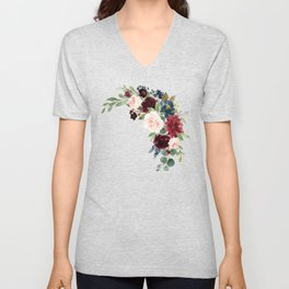 Burgundy Navy Blue Watercolor Flowers Unisex V-Neck