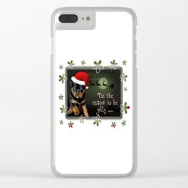Tis The Season To Be Jolly Cute Rottweiler Christmas Clear iPhone Case