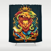 hufflepuff Shower Curtains featuring Harry Potter : Hogwarts Houses by anggatantama