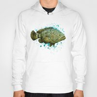lichtenstein Hoodies featuring Goliath Grouper ~ Watercolor by Amber Marine