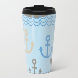 Light Blue background. Boat with white sails, sea anchor Travel Mug