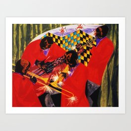 African American Masterpiece 'Village Quartet' by Jacob Lawrence Art Print