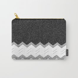 Charcoal gray geometric zigzag chevron modern grey 50 shades hipster zig zag print black white grung Carry-All Pouch