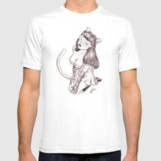 Kitschy Kat MEDIUM White Mens Fitted Tee